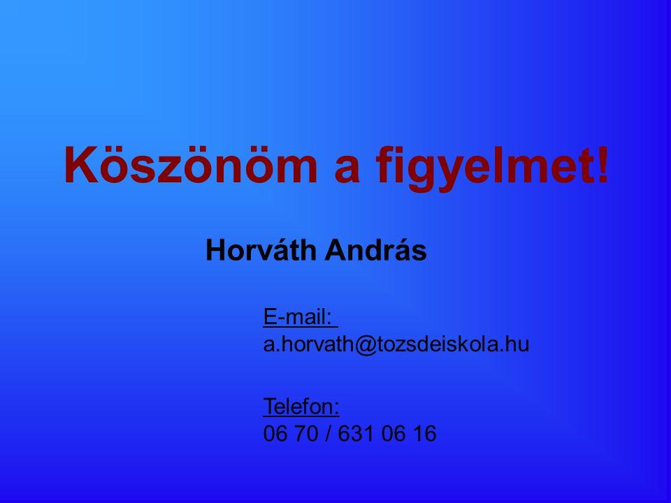 Köszönöm a figyelmet! Horváth András E-mail: a.horvath@tozsdeiskola.hu