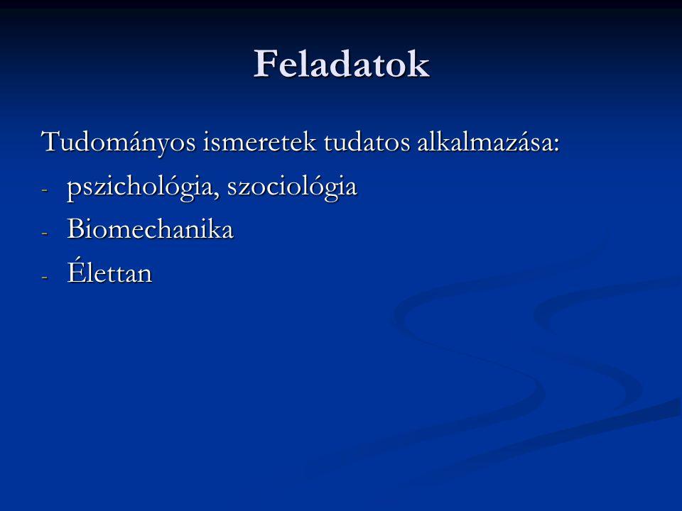 Feladatok Tudományos ismeretek tudatos alkalmazása: