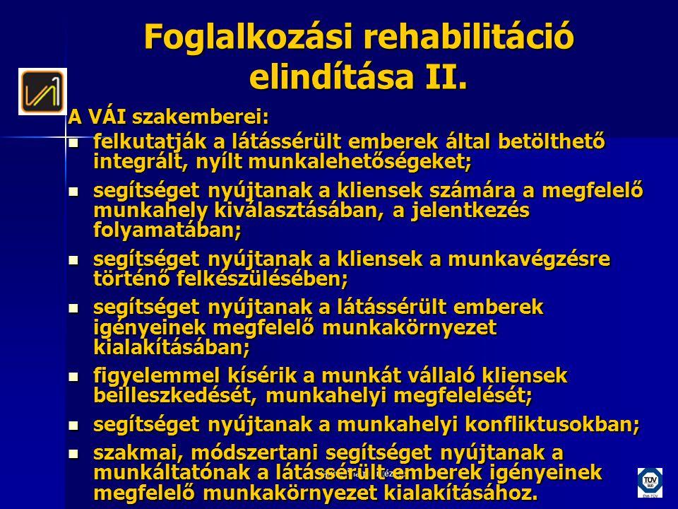 Foglalkozási rehabilitáció elindítása II.