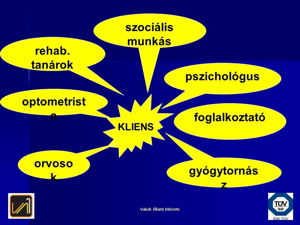 szociális munkás rehab. tanárok pszichológus optometrista