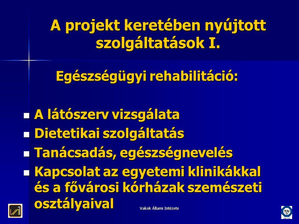 A projekt keretében nyújtott szolgáltatások I.