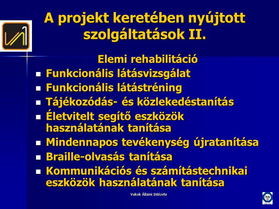 A projekt keretében nyújtott szolgáltatások II.