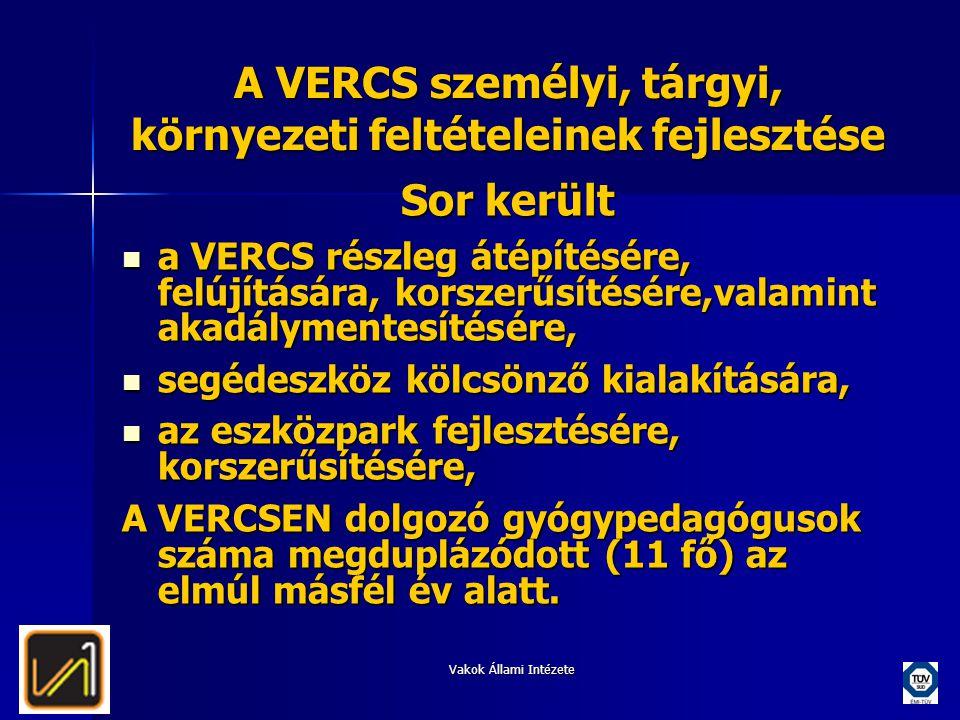 A VERCS személyi, tárgyi, környezeti feltételeinek fejlesztése