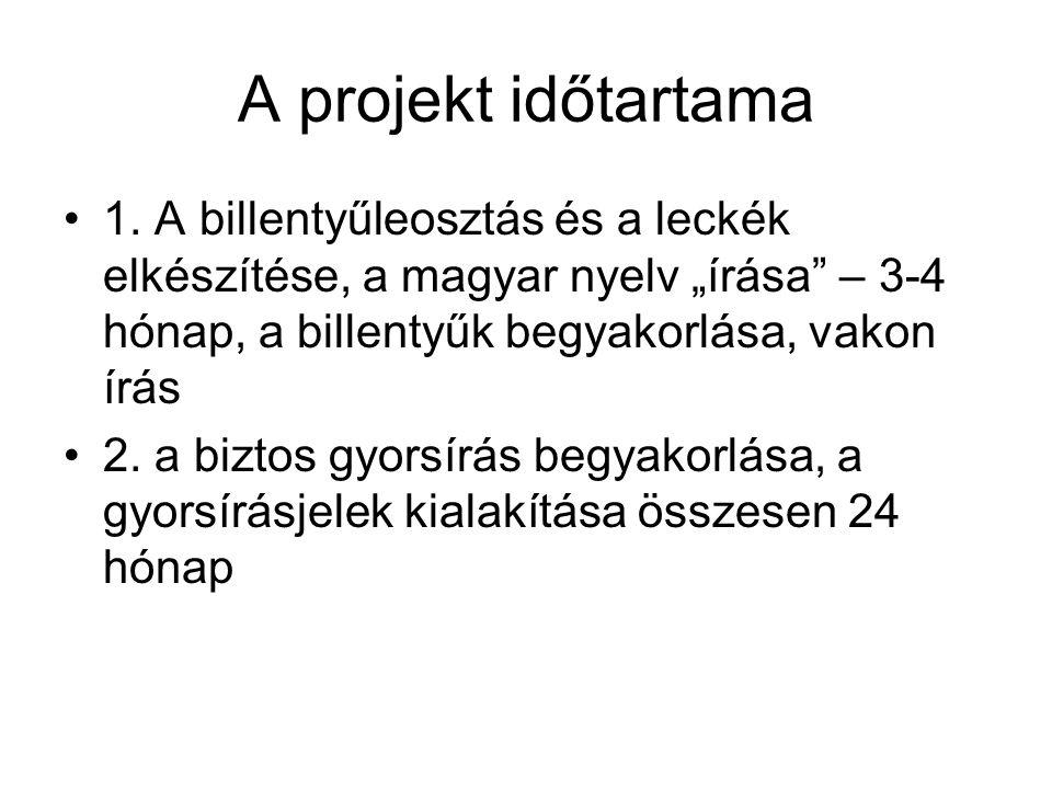 """A projekt időtartama 1. A billentyűleosztás és a leckék elkészítése, a magyar nyelv """"írása – 3-4 hónap, a billentyűk begyakorlása, vakon írás."""