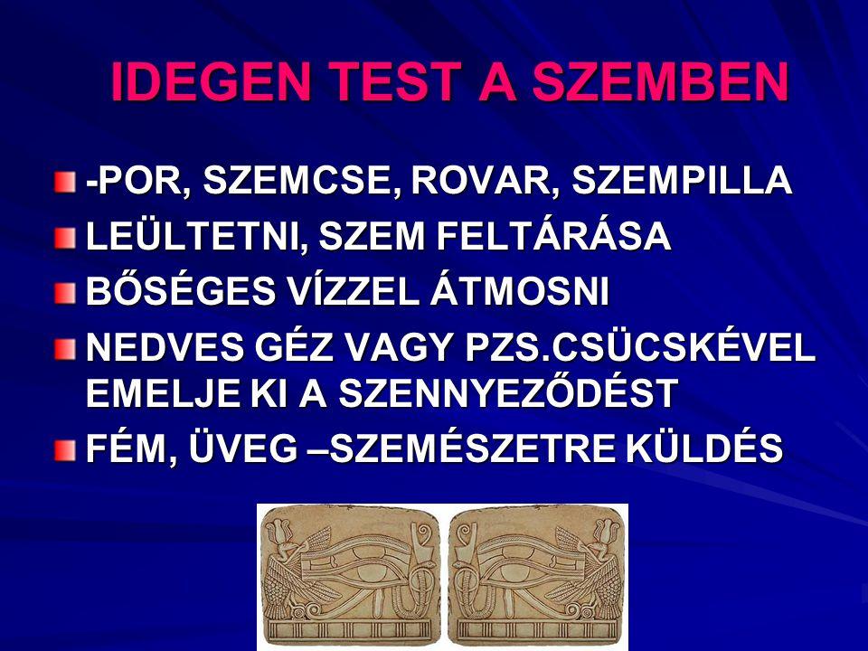 IDEGEN TEST A SZEMBEN -POR, SZEMCSE, ROVAR, SZEMPILLA