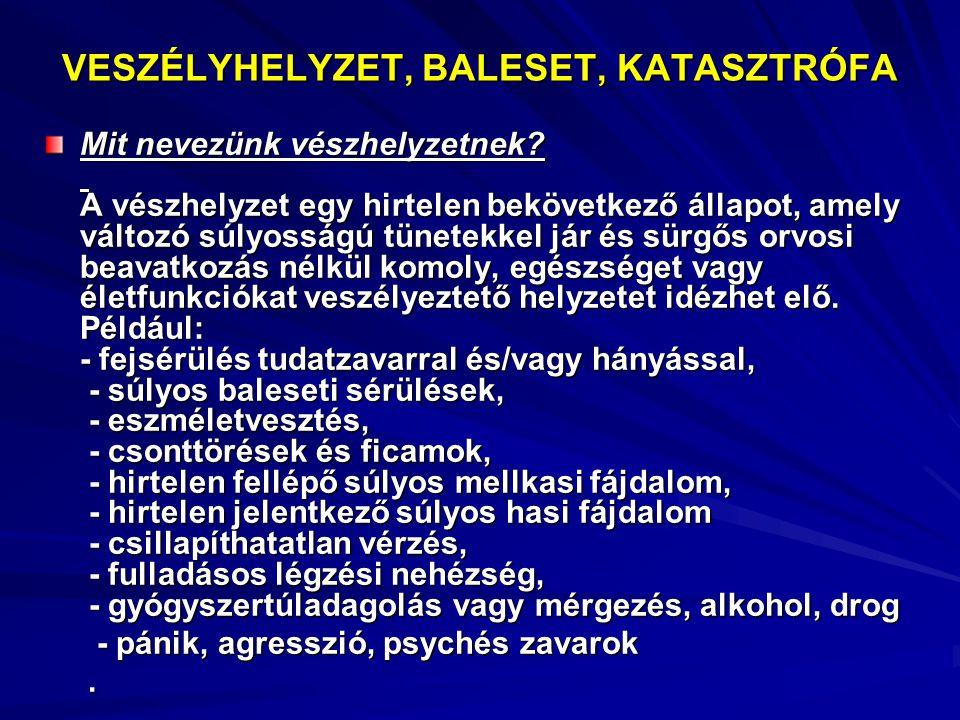 VESZÉLYHELYZET, BALESET, KATASZTRÓFA