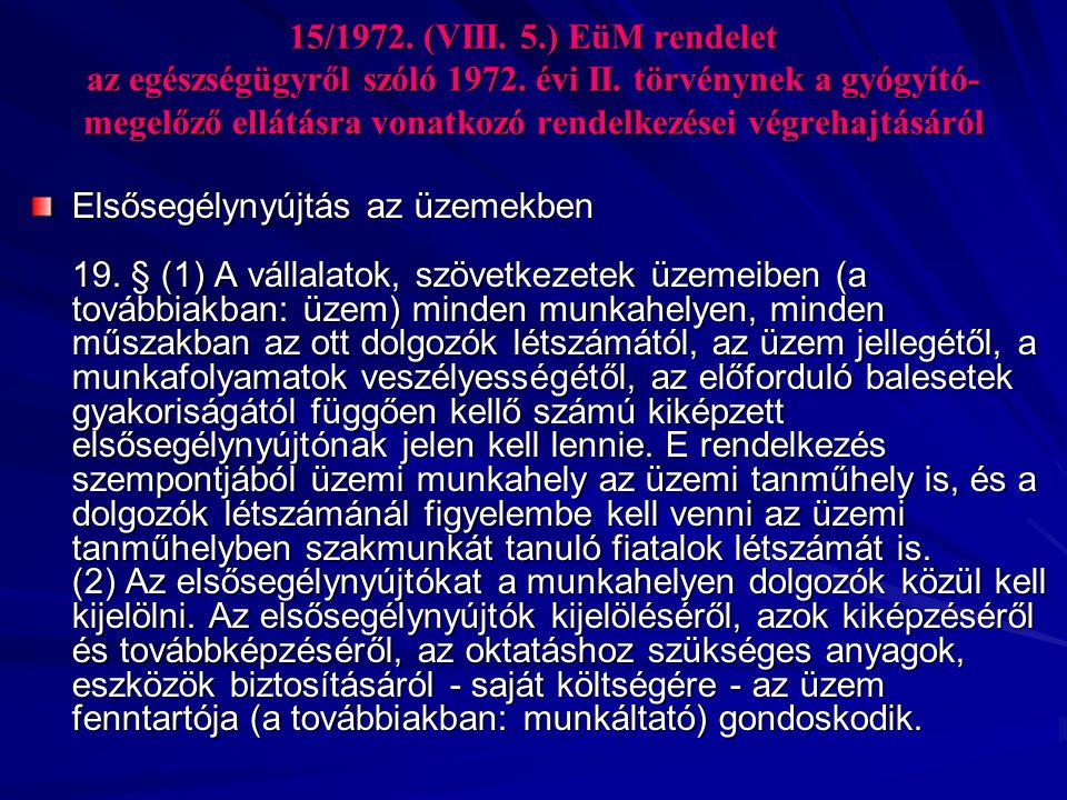 15/1972. (VIII. 5. ) EüM rendelet az egészségügyről szóló 1972. évi II