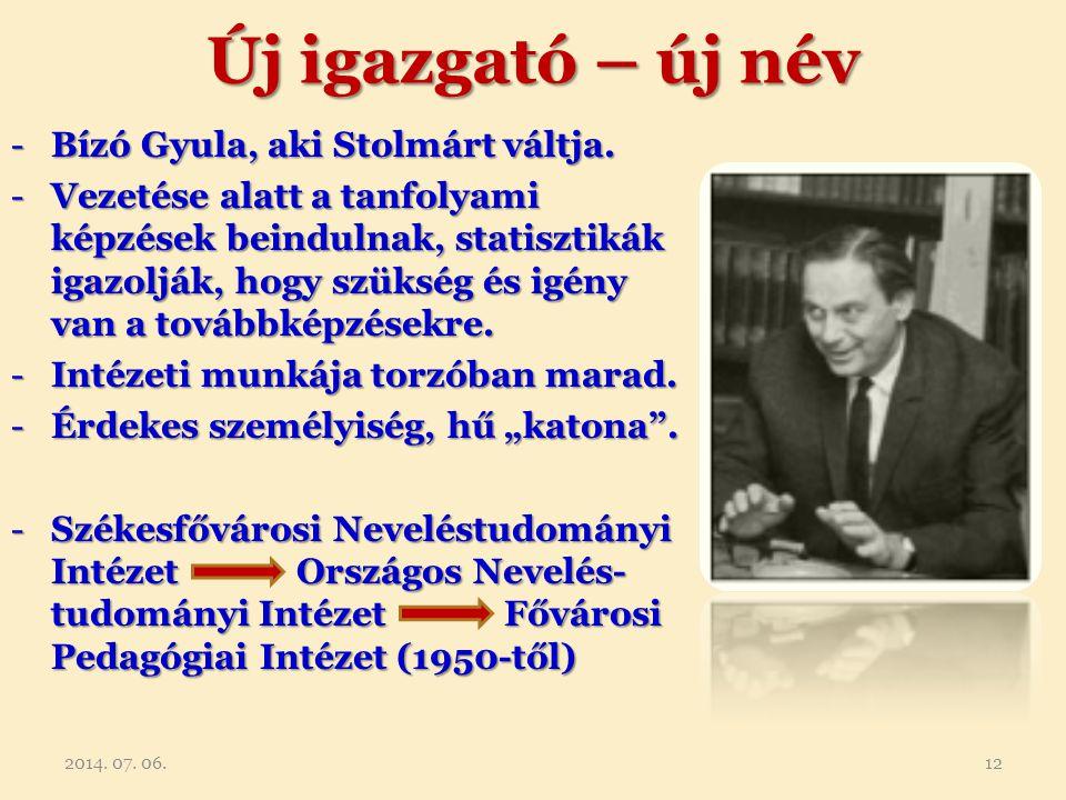 Új igazgató – új név Bízó Gyula, aki Stolmárt váltja.