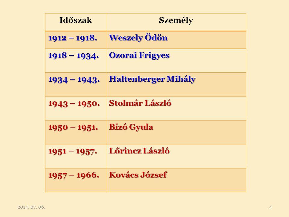 Időszak Személy 1912 – 1918. Weszely Ödön 1918 – 1934. Ozorai Frigyes