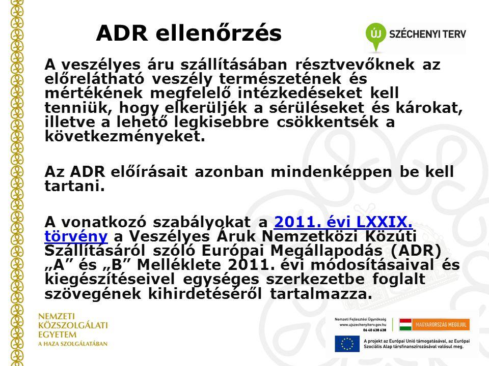 ADR ellenőrzés