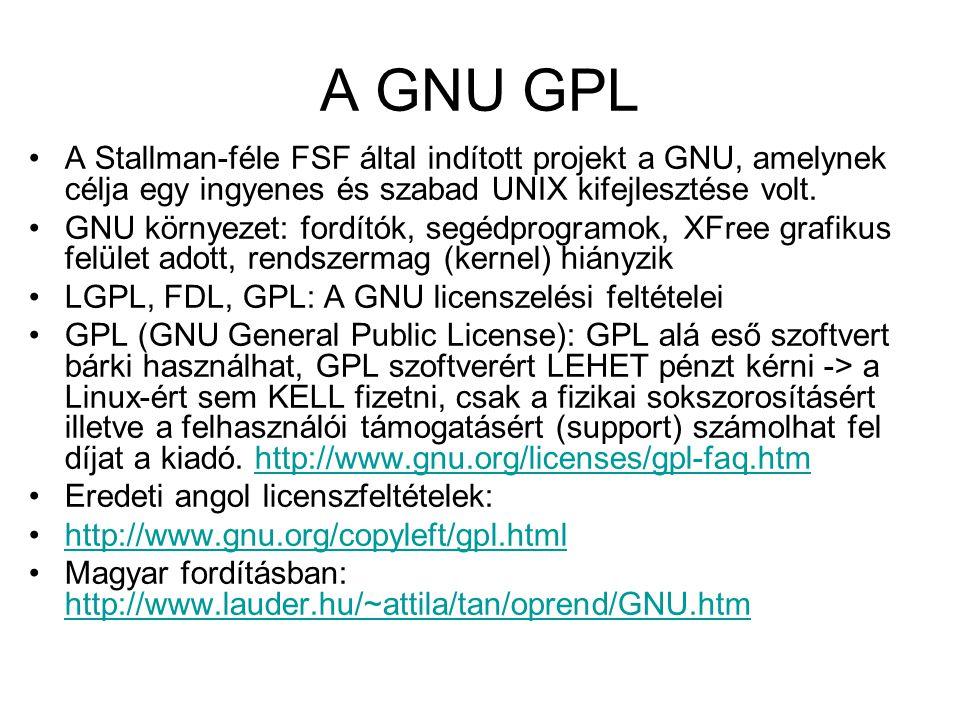 A GNU GPL A Stallman-féle FSF által indított projekt a GNU, amelynek célja egy ingyenes és szabad UNIX kifejlesztése volt.