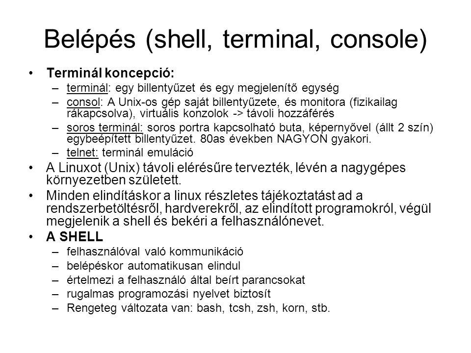 Belépés (shell, terminal, console)