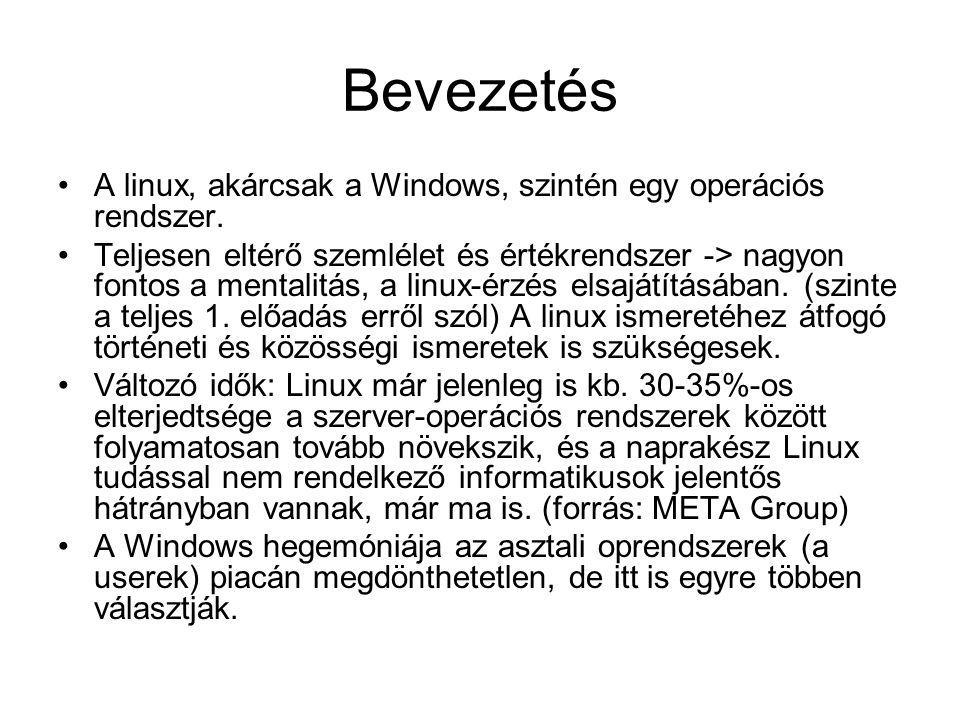 Bevezetés A linux, akárcsak a Windows, szintén egy operációs rendszer.