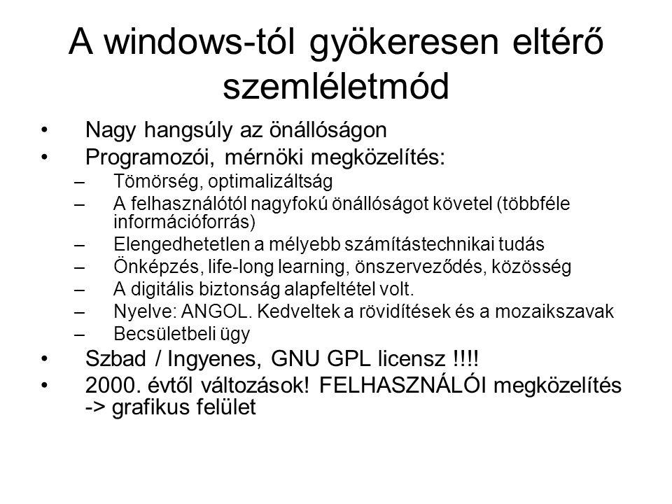 A windows-tól gyökeresen eltérő szemléletmód