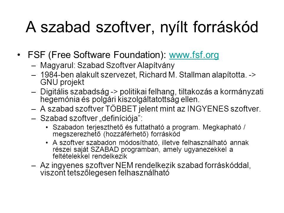 A szabad szoftver, nyílt forráskód
