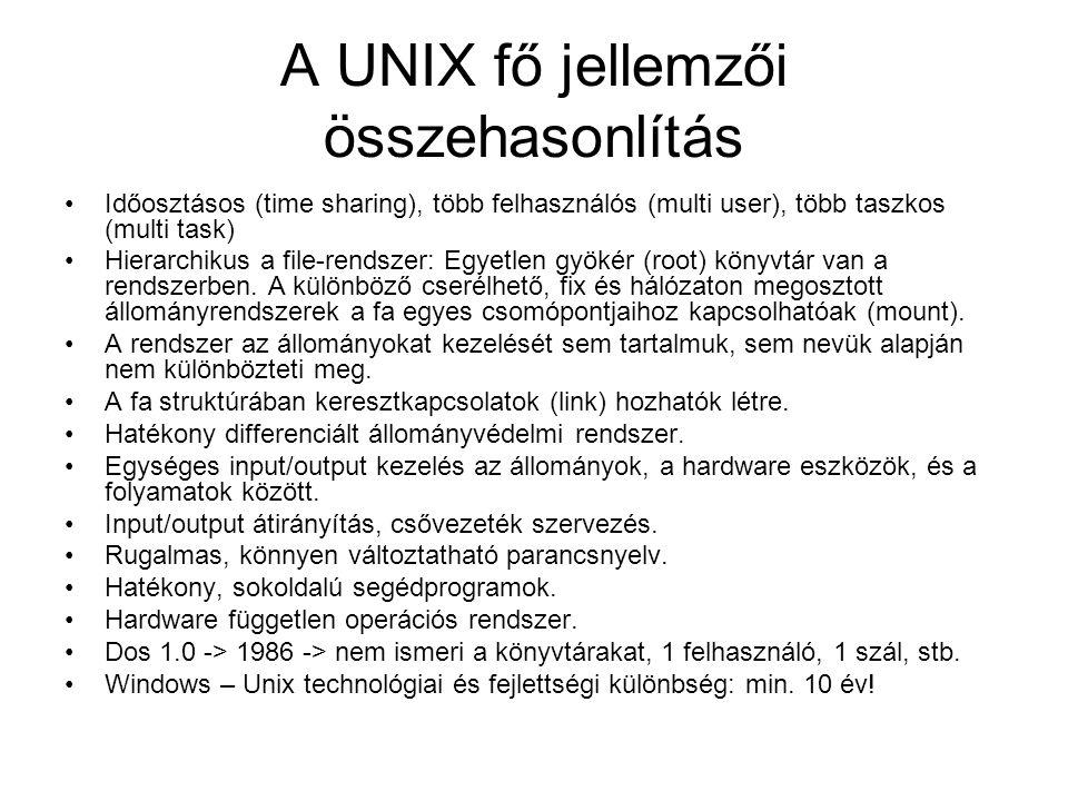 A UNIX fő jellemzői összehasonlítás