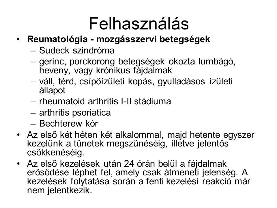 Felhasználás Reumatológia - mozgásszervi betegségek Sudeck szindróma