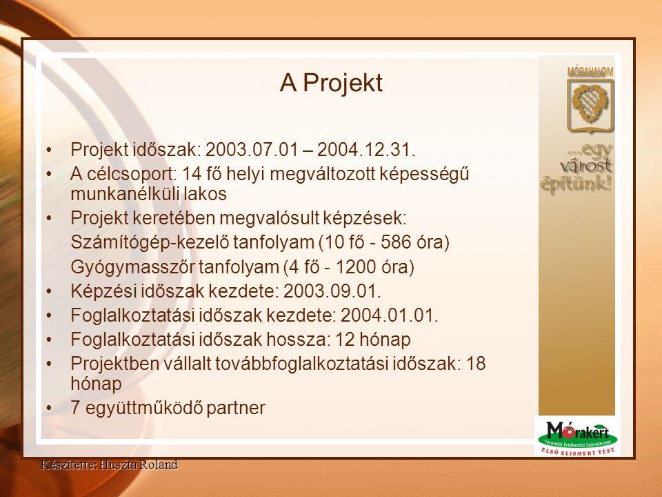A Projekt Projekt időszak: 2003.07.01 – 2004.12.31.
