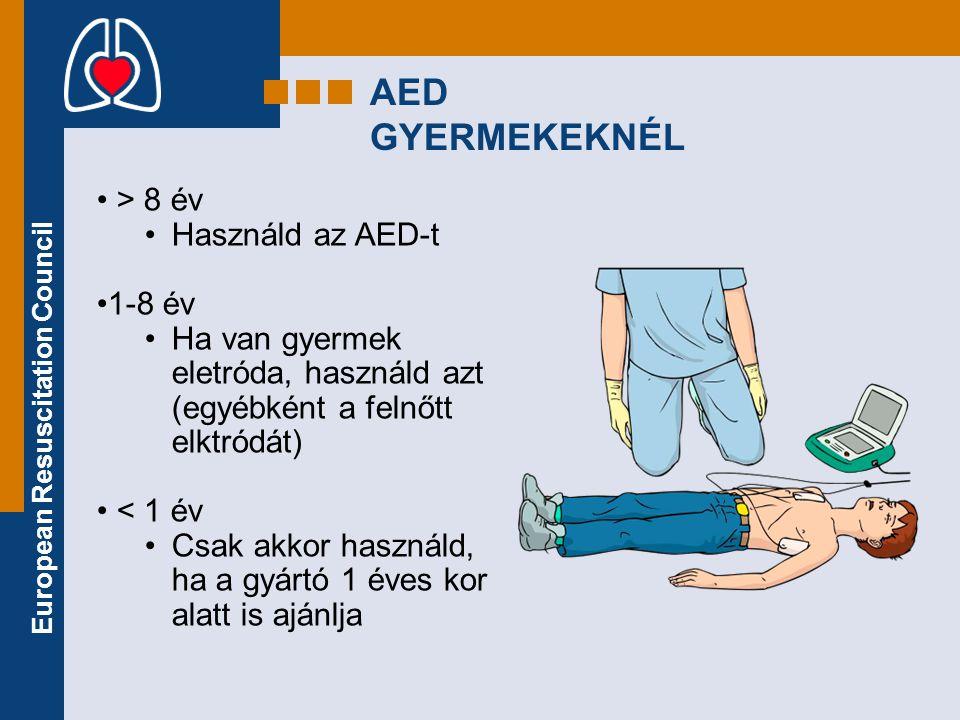 AED GYERMEKEKNÉL > 8 év Használd az AED-t 1-8 év