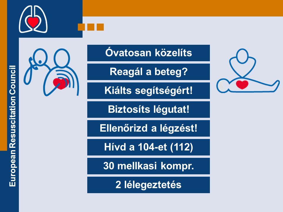 Óvatosan közelíts Reagál a beteg Kiálts segítségért! Biztosíts légutat! Ellenőrizd a légzést! Hívd a 104-et (112)
