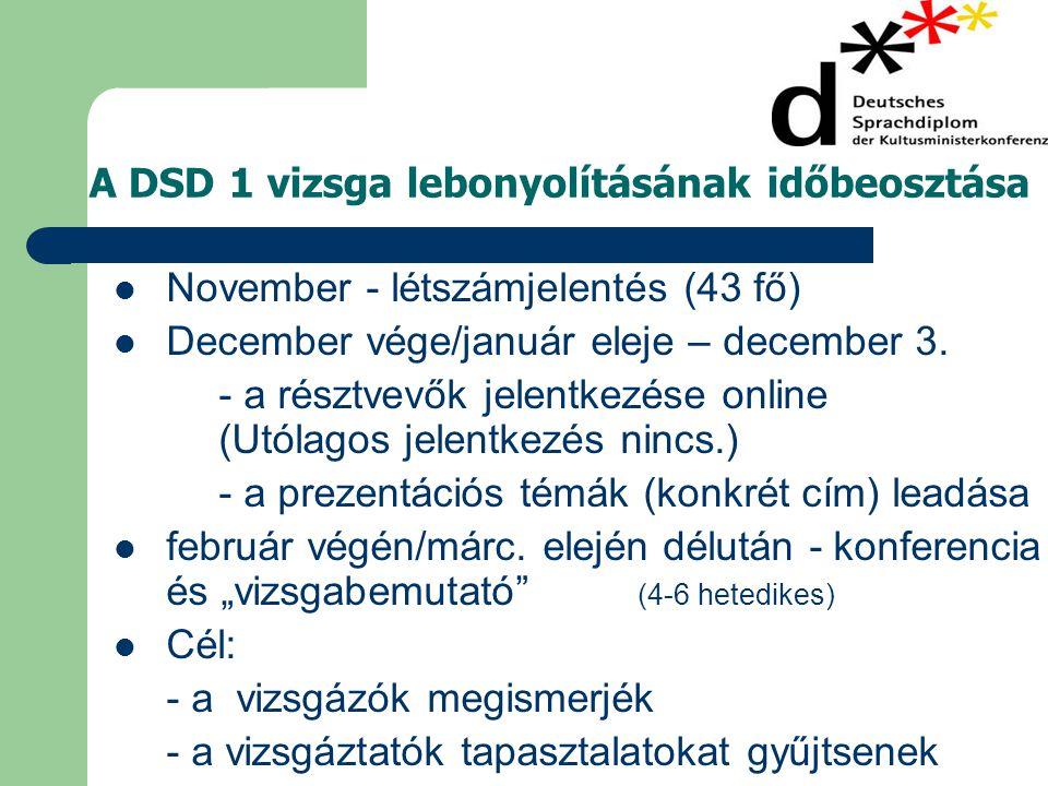 A DSD 1 vizsga lebonyolításának időbeosztása