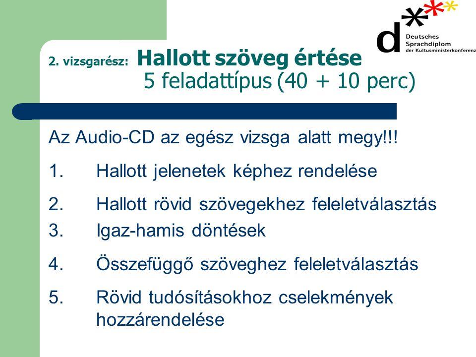 2. vizsgarész: Hallott szöveg értése 5 feladattípus (40 + 10 perc)