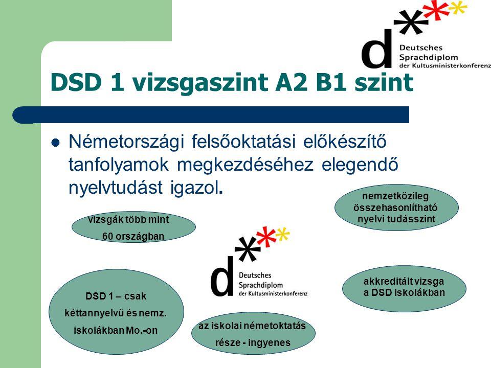 DSD 1 vizsgaszint A2 B1 szint