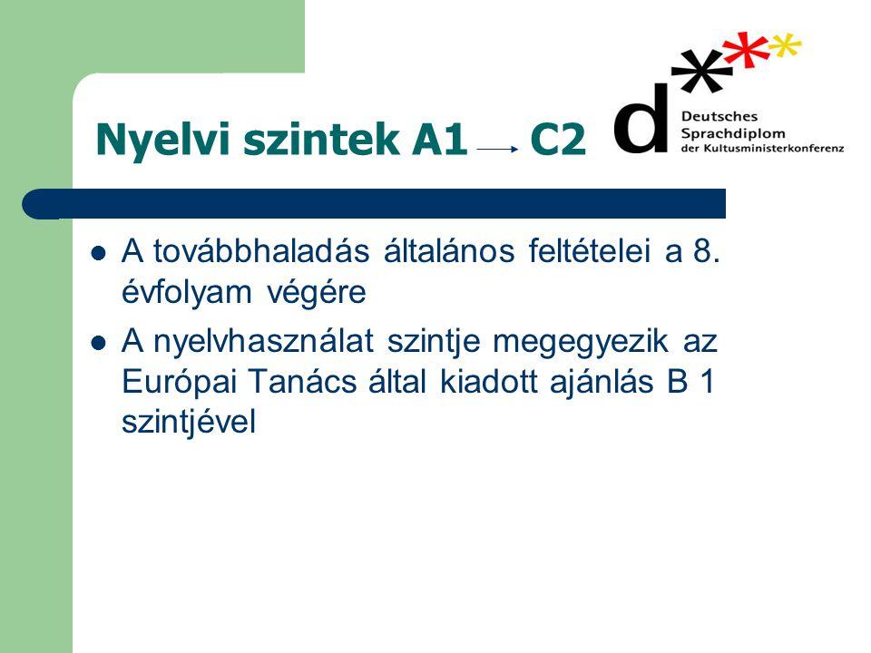 Nyelvi szintek A1 C2 A továbbhaladás általános feltételei a 8. évfolyam végére.