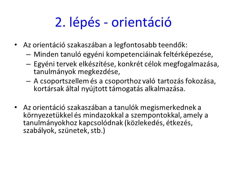 2. lépés - orientáció Az orientáció szakaszában a legfontosabb teendők: Minden tanuló egyéni kompetenciáinak feltérképezése,