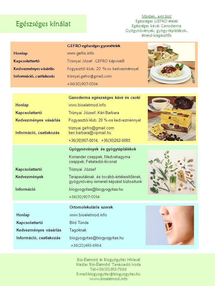 Egészséges kínálat Minden, ami bio! Egészséges GEFRO ételek