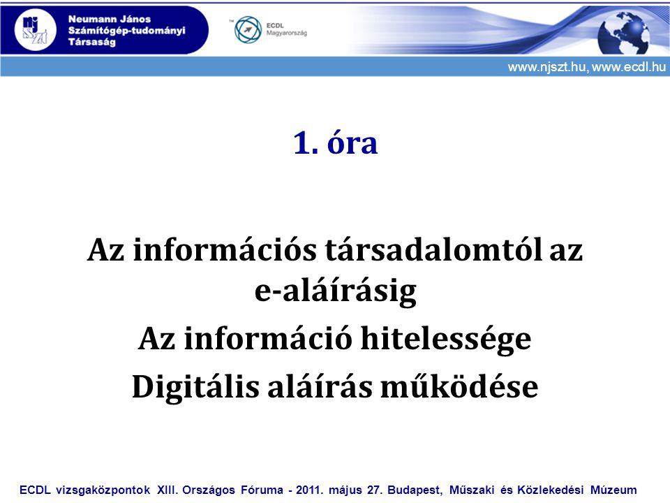 1. óra Az információs társadalomtól az e-aláírásig Az információ hitelessége Digitális aláírás működése