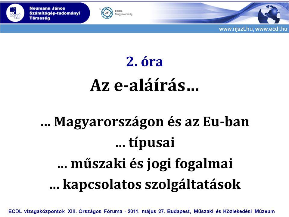 Az e-aláírás… 2. óra … Magyarországon és az Eu-ban … típusai