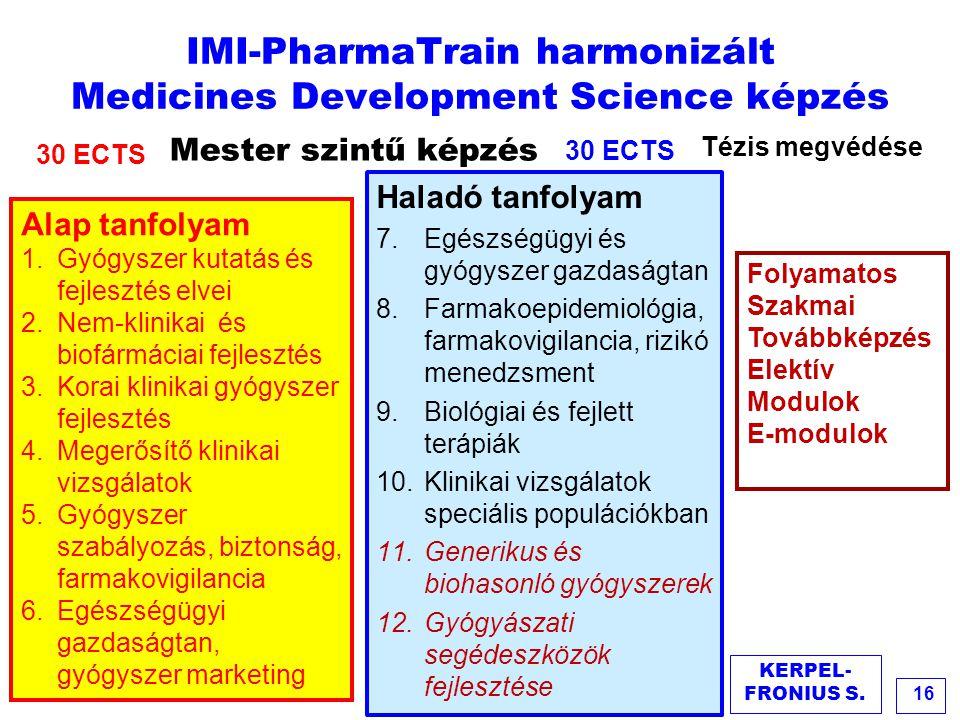 IMI-PharmaTrain harmonizált Medicines Development Science képzés