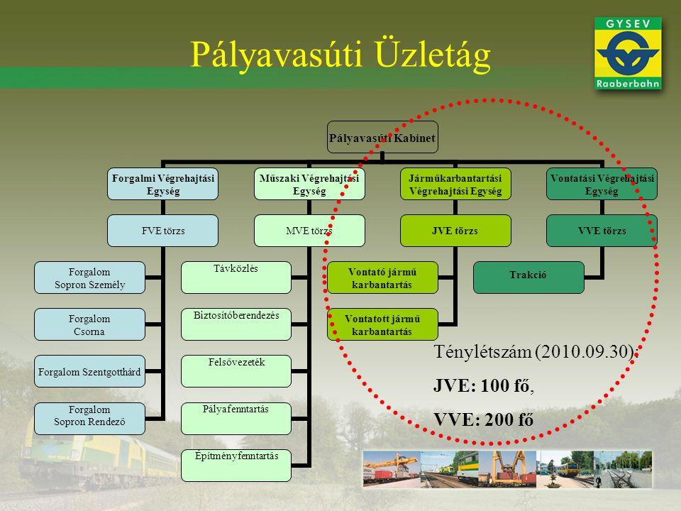 Pályavasúti Üzletág Ténylétszám (2010.09.30): JVE: 100 fő, VVE: 200 fő