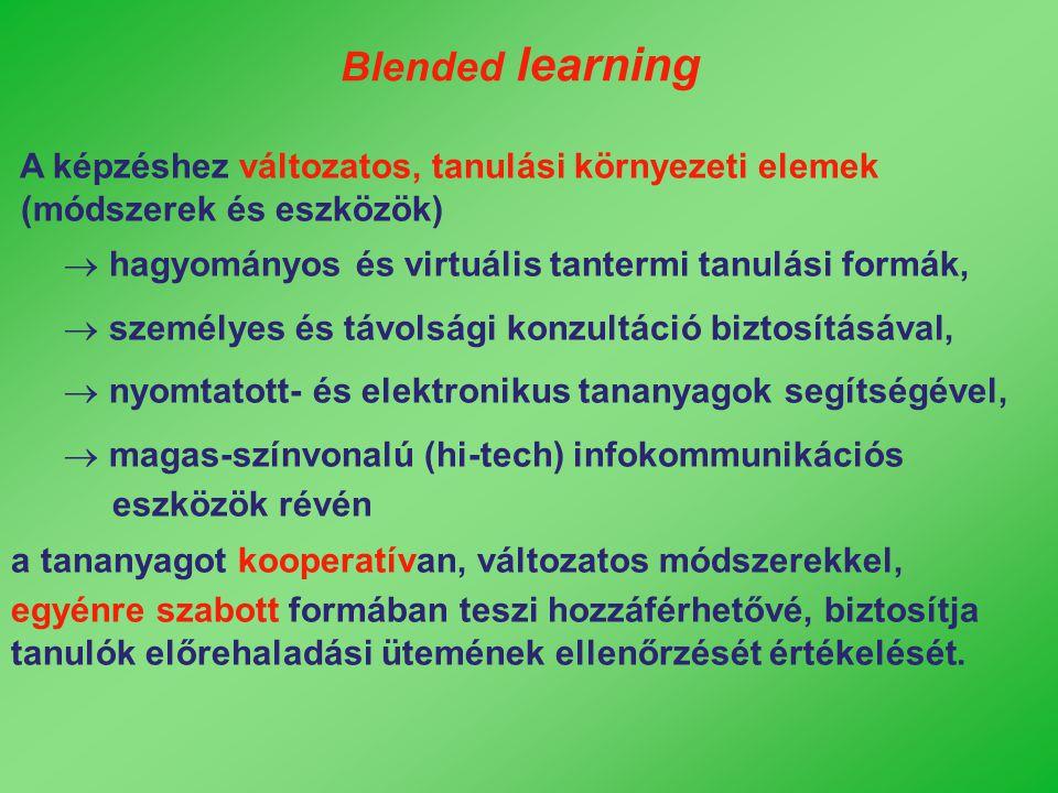 Blended learning A képzéshez változatos, tanulási környezeti elemek