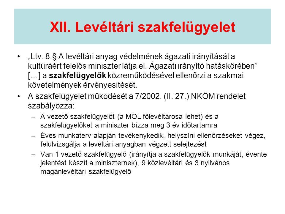 XII. Levéltári szakfelügyelet