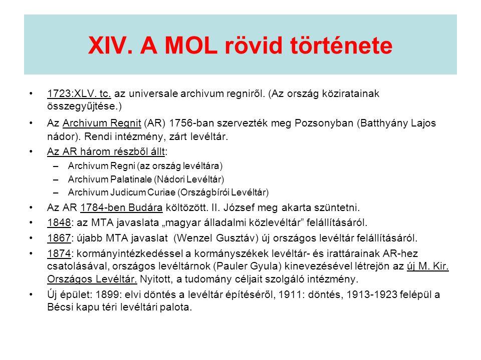 XIV. A MOL rövid története