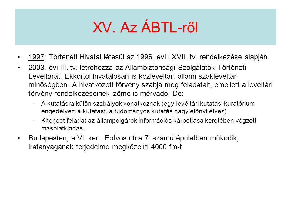 XV. Az ÁBTL-ről 1997: Történeti Hivatal létesül az 1996. évi LXVII. tv. rendelkezése alapján.