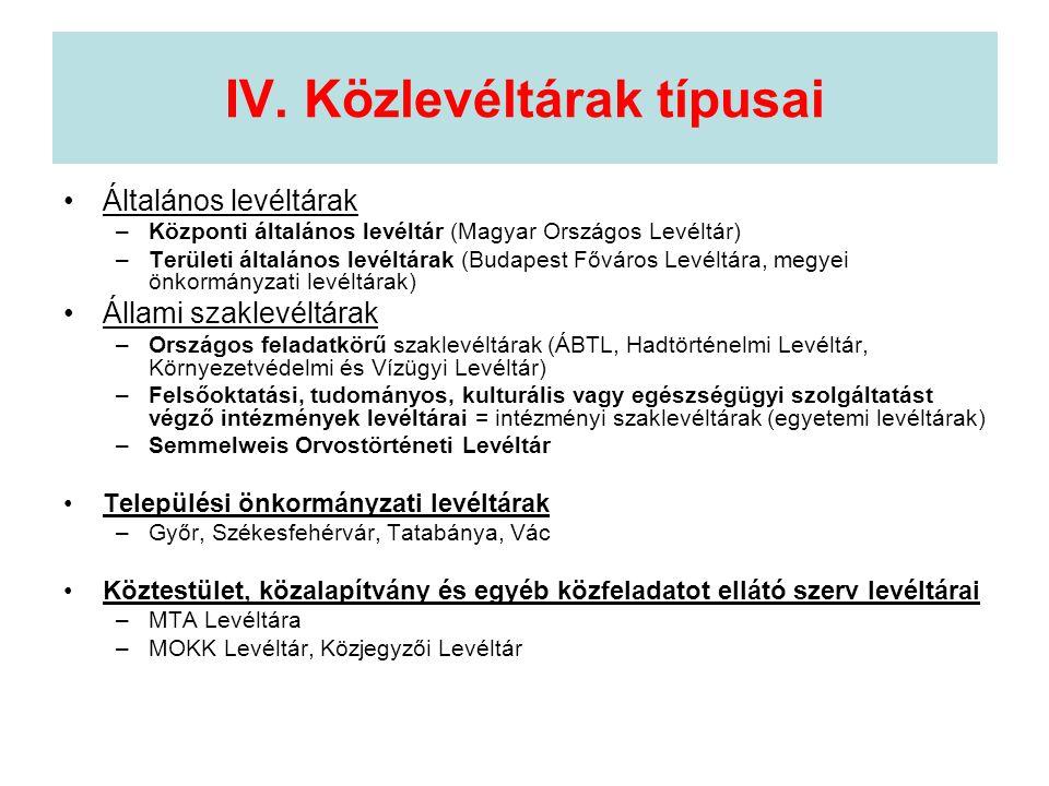 IV. Közlevéltárak típusai