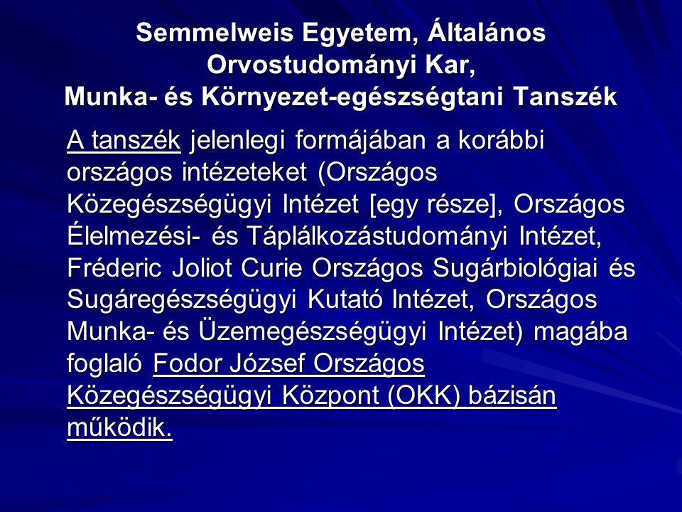 Semmelweis Egyetem, Általános Orvostudományi Kar, Munka- és Környezet-egészségtani Tanszék