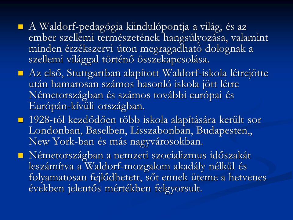 A Waldorf-pedagógia kiindulópontja a világ, és az ember szellemi természetének hangsúlyozása, valamint minden érzékszervi úton megragadható dolognak a szellemi világgal történő összekapcsolása.