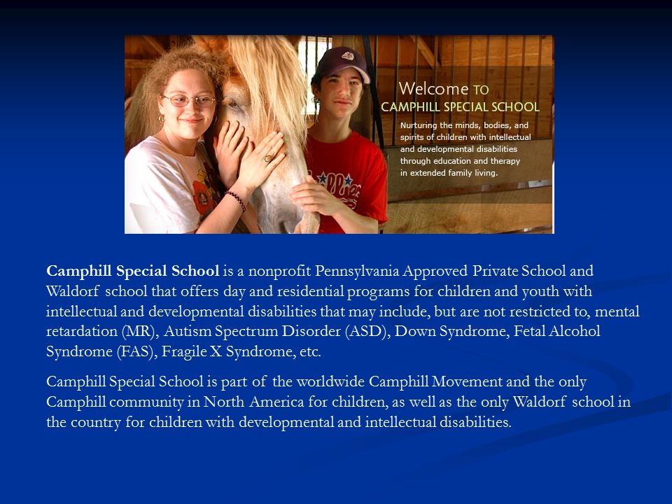 Camphill Special School is a nonprofit Pennsylvania Approved Private School and Waldorf school that offers day and residential programs for children and youth with intellectual and developmental disabilities that may include, but are not restricted to, mental retardation (MR), Autism Spectrum Disorder (ASD), Down Syndrome, Fetal Alcohol Syndrome (FAS), Fragile X Syndrome, etc.