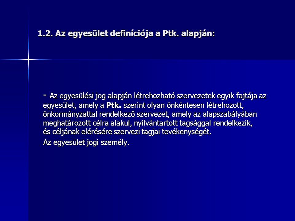 1.2. Az egyesület definíciója a Ptk. alapján:
