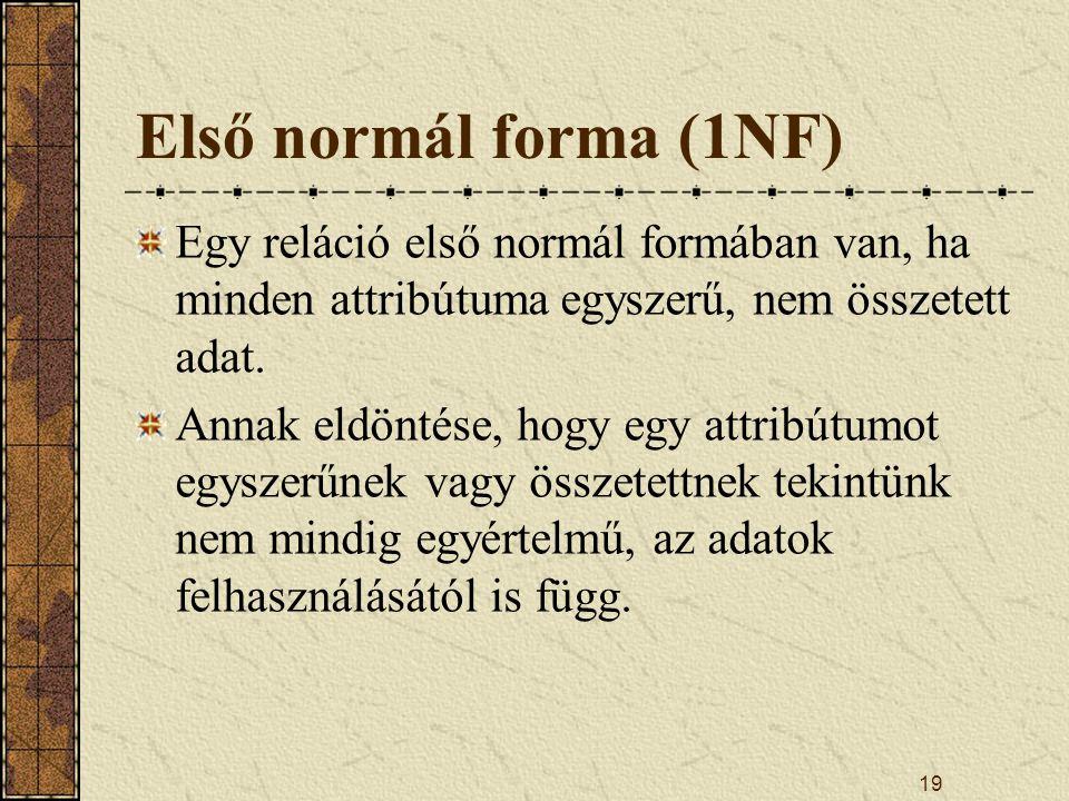 Első normál forma (1NF) Egy reláció első normál formában van, ha minden attribútuma egyszerű, nem összetett adat.