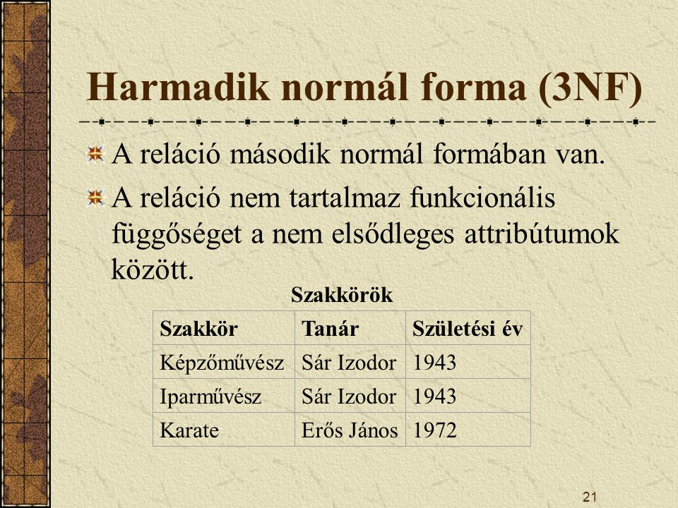 Harmadik normál forma (3NF)
