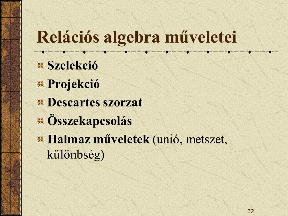 Relációs algebra műveletei