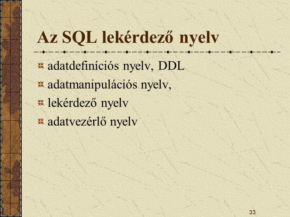 Az SQL lekérdező nyelv adatdefiníciós nyelv, DDL