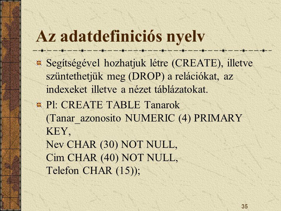Az adatdefiniciós nyelv