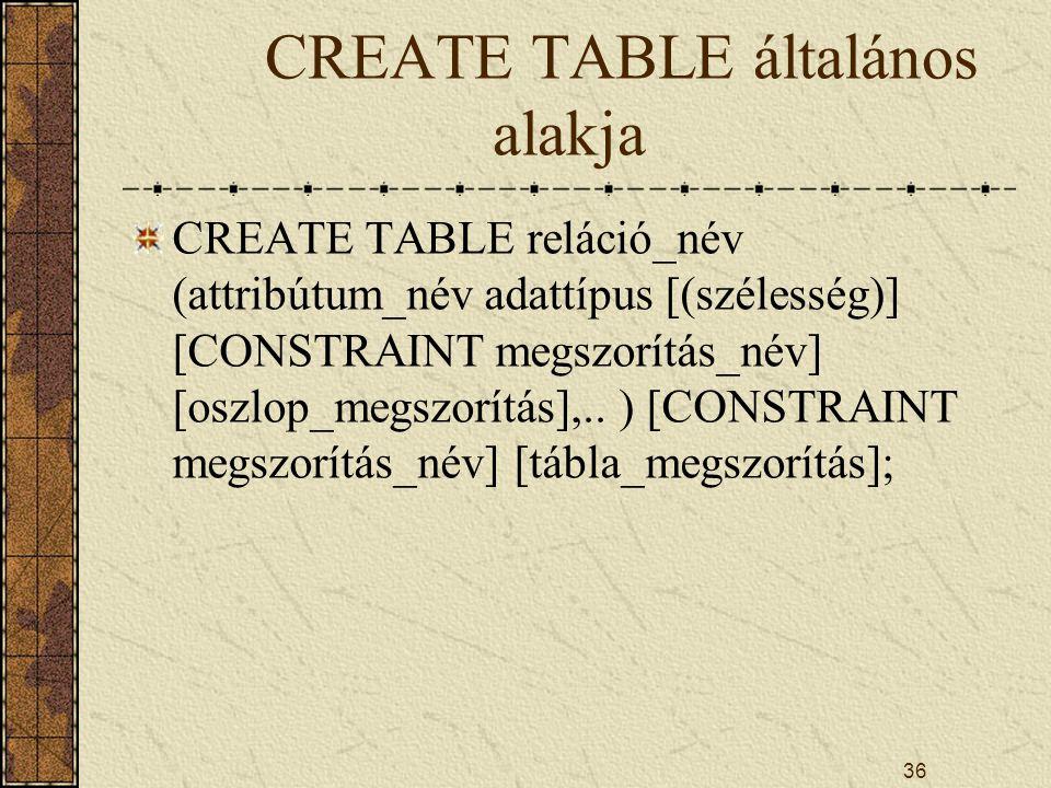 CREATE TABLE általános alakja