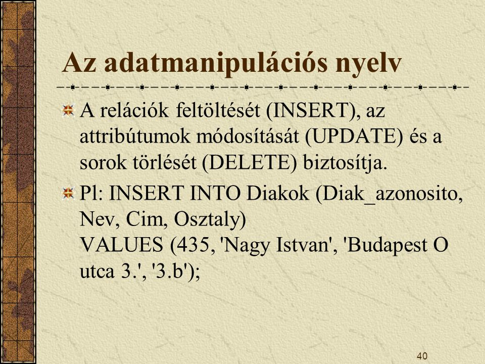 Az adatmanipulációs nyelv